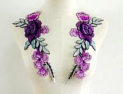 "Embroidered Floral Applique Mirror Pair Purple Teal Clothing Patch Craft Motif 11.5"" (BL96X)"
