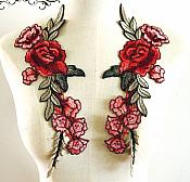 """Embroidered Floral Applique Mirror Pair Red Clothing Patch Craft Motif 11.5"""" (BL96X)"""