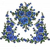 Set Of Three Embroidered Floral Applique Blue Craft Patch (BL97-bl)