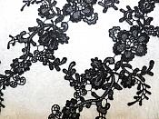 """Embroidered Floral Applique Mirror Pair Black Clothing Patch Craft Motif 13.5"""" (BL98X)"""