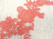 "Embroidered Floral Applique Mirror Pair Coral Clothing Patch Craft Motif 13.5"" (BL98X)"