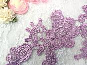 "Embroidered Floral Applique Mirror Pair Dark Lavender Clothing Patch Craft Motif 13.5"" (BL98X)"