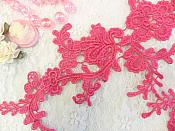 """Embroidered Floral Applique Mirror Pair Fuschia Clothing Patch Craft Motif 13.5"""" (BL98X)"""