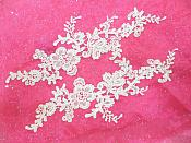 "Embroidered Floral Applique Mirror Pair Ivory Clothing Patch Craft Motif 13.5"" (BL98X)"
