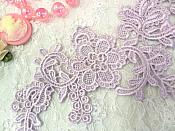 "Embroidered Floral Applique Mirror Pair Light Lavender Clothing Patch Craft Motif 13.5"" (BL98X)"