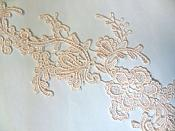 """Embroidered Floral Applique Mirror Pair Light Peach Pink Clothing Patch Craft Motif 13.5"""" (BL98X)"""