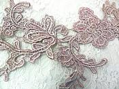 "Embroidered Floral Applique Mirror Pair Lavender Champagne Clothing Patch Craft Motif 13.5"" (BL98X)"