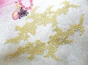 "Embroidered Floral Applique Mirror Pair Pale Yellow Clothing Patch Craft Motif 13.5"" (BL98X)"
