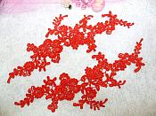 """Embroidered Floral Applique Mirror Pair Red Clothing Patch Craft Motif 13.5"""" (BL98X)"""