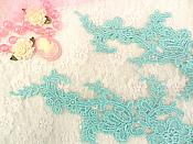 "Embroidered Floral Applique Mirror Pair Teal Clothing Patch Craft Motif 13.5"" (BL98X)"