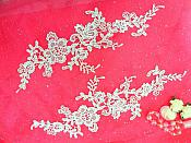 "Embroidered Floral Applique Mirror Pair White Clothing Patch Craft Motif 13.5"" (BL98X)"