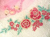 "Embroidered Floral Applique Fuschia Teal Clothing Patch Craft Motif 15.5"" (BL99)"