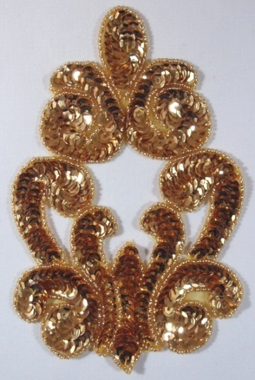 Gold Motif Sequin Beaded Applique Victorian 0019