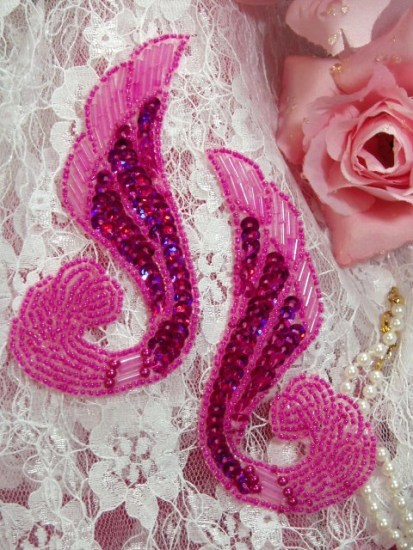 0123 Fuchsia Swirl Mirror Pair Sequin Beaded Appliques