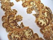 """0049 Sequin Beaded Appliques Gold Mirror Pair Clothing Patch 13.75"""""""