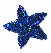 """JB70  Blue Star One Inch Beaded Sequin Applique 1"""""""