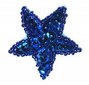 JB72 Star Applique 2 inch Blue Sequin Beaded