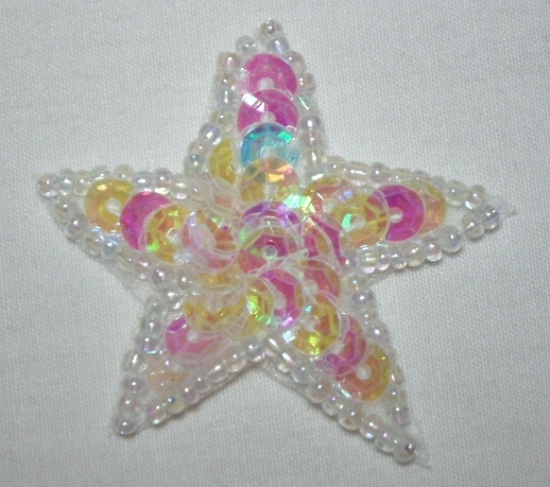 """0111  Crystal AB Star 1.5"""" Sequin Beaded Applique"""