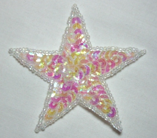 """0112  Crystal AB Star 2.5"""" Sequin Beaded Applique"""
