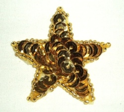 JB70 Gold Star Applique One Inch Sequin Beaded