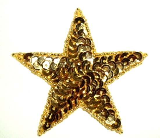 "0112  Gold Star 2.5"" Sequin Beaded Applique"