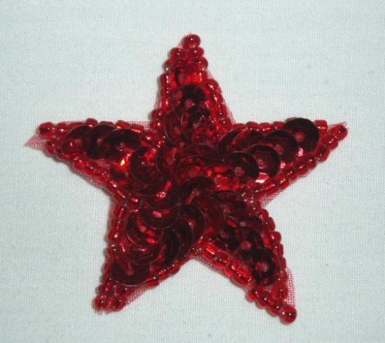 "0111  Red Star 1.5"" Sequin Beaded Applique"