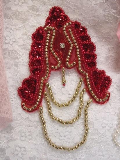"""Red Victorian Epaulet 7"""" Sequin Beaded Applique 0080"""