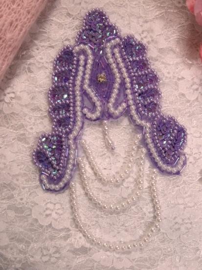 "Lavender Victorian Epaulet  7"" Sequin Beaded Applique 0080"
