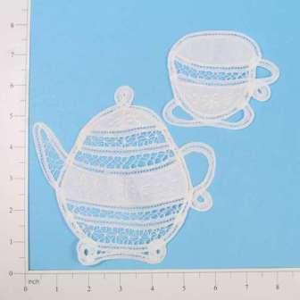 """E5286 Set of Two Lace Tea Pot  Tea Cup Appliques 6"""""""