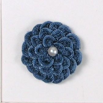 E5560 Medium Blue Pearl Crochet Ribbon Floral Applique 1.5""