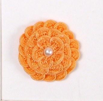 E5560 Peach Pearl Crochet Ribbon Floral Applique 1.5""