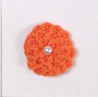 """E5560 Coral Pearl Crochet Ribbon Floral Applique 1.5"""""""