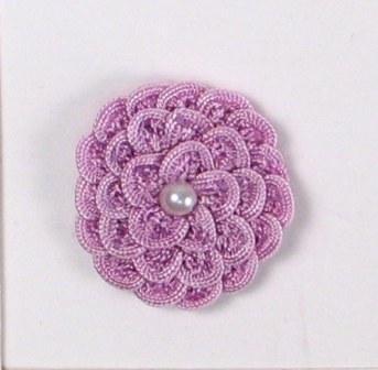 "E5560 Lavender Pearl Crochet Ribbon Floral Applique 1.5"""