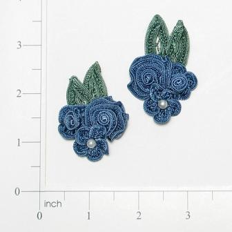 E3604  Blue Crochet Ribbon Floral Applique Pair 2.25""