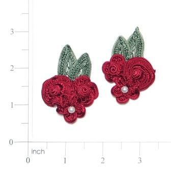 E3604  Burgundy Crochet Ribbon Floral Applique Pair 2.25""
