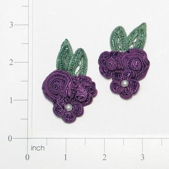 E3604  Purple Crochet Ribbon Floral Applique Pair 2.25""