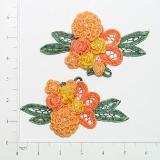 "Orange Peach Crochet Floral Mirror Pair 5.5"" Appliques E3620"