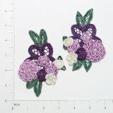"Purple Crochet Floral Mirror Pair 4.5"" Appliques E3620"