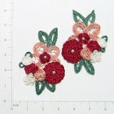 "Red Crochet Floral Mirror Pair 4.5"" Appliques E3620"