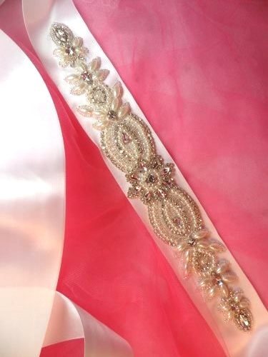 BSXR287 Bridal Sash Crystal Rhinestone Silver Setting w/ Pearls On White Satin Double Face Ribbon