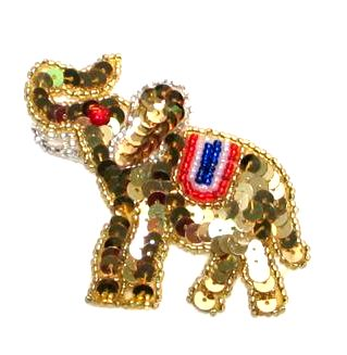 "REPUBLICAN APPLIQUE GOLD ELEPHANT SEQUIN BEADED APPLIQUE PATCH 2.5"" (E663)"