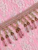 """C036 Pink Ivory Beaded Fringe Trim 2"""""""
