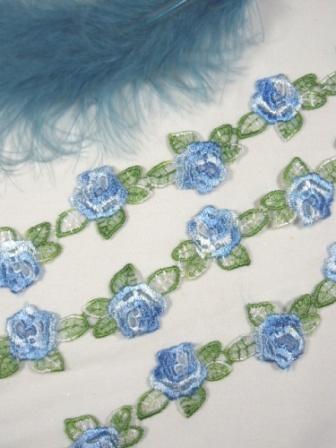 "C107 Blue Rose Venice Trim 1 1/8"""