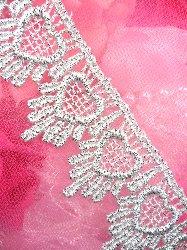 "C124 Silver Trim Venice Lace Victorian Sewing 1.75"""