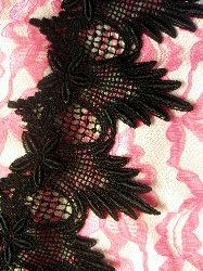 "RMC149 Black (33"" REMNANT) Venice Lace Trim Floral and Scallop Victorian"