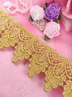 "C159 Gold Metallic Shimmering Shells Victorian Venice Lace Trim  2"""