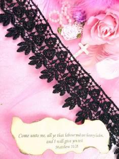 "C171 Black Rose Lace Sewing Trim 2.25"""