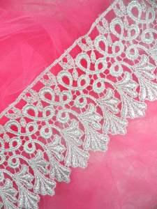"C184 Metallic Silver Venice Lace Sewing Trim 4"""