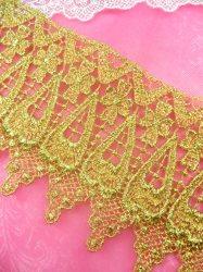 "C188 Elegant Gold Metallic Cross Victorian Venice Lace Trim  4"""