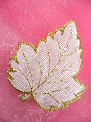 C222100 Gold Stitched White Leaf  Iron On Applique 3.5""